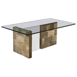 Zafferano Aged Elm and Tempered Glass Coffee Table