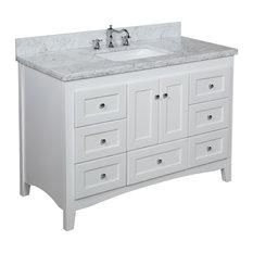 "Abbey Bath Vanity, Base: Chocolate, 24"", Top: Carrara Marble, Base: White, 48"","
