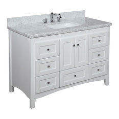 Abbey Bath Vanity, Top: Carrara Marble, Base: White, 48""