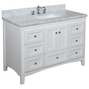 "Abbey Bath Vanity, Top: Carrara Marble, Base: White, 48"""