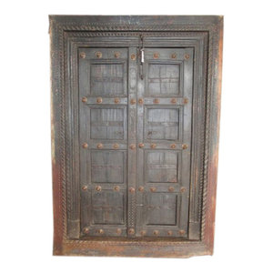 Mogul Interior - Consigned Doors 18c Dark Teak Brass Medallions Antique Style Rustic Patina - Interior Doors