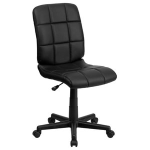 Mid-Back Swivel Computer Chair Black Vinyl Upholstery