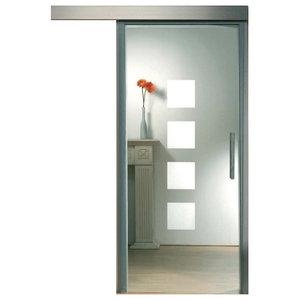 "Sliding Glass Barn Door Clear Glass Quadrate Design, 26""x84"""
