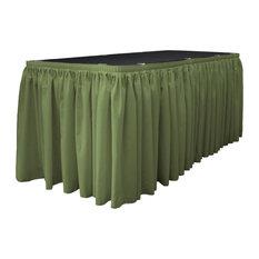 "LA Linen Polyester Poplin Table Skirt, Dark Sage, 204""x29"""