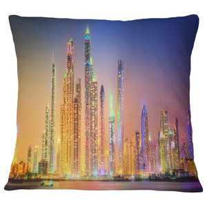 Designart CU10118-26-26 New York Times Square in Blue Light Cityscape Cushion Cover for Living Room Insert Printed On Both Side Sofa Throw Pillow 26 in x 26 in in