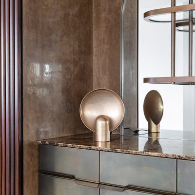 Inspiration for a large contemporary single-wall dry bar remodel in Sydney with flat-panel cabinets, brown cabinets, marble countertops and multicolored countertops