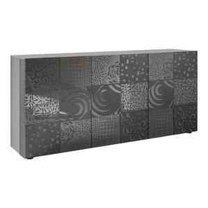 Miro II Decorative Sideboard, 181 cm, Grey Gloss