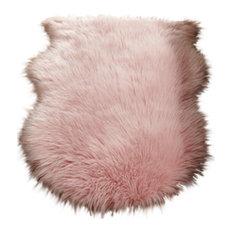 Faux Sheepskin Pink Rectangular Rug, 60x90 cm