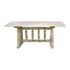 Montana Log Collection Wood Trestle Based Dining Table In Clear Lacquer MWDTV