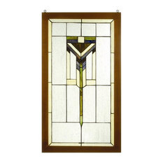 "17""Wx30""H Prairie Wood Frame Stained Glass Window"