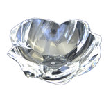 Gilded Home - Clear Crystal Petal Bowl, Large - Based on our popular small Petal Bowl, this larger version will hold even the simplest objects in an elegant manner; or it looks just as sophisticated on its own. Clear polished K9 optic crystalline brings the sparkle with this uniquely cut bowl resembling a delicate flower petal.