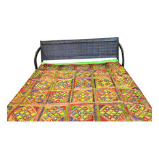 Mogul Interior - Vintage Sari Indian Embroidered Bedapread Tapestry - Sheet And Pillowcase Sets