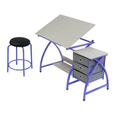 Studio Designs Comet Center With Stool Purple/Spatter Gray