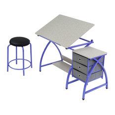 Studio Designs Comet Center With Stool Purple/Spatter Gray