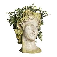 Orlandi Statuary Inc - Apollo Head Planter, White Moss - Outdoor Pots and Planters