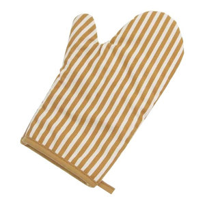Oven Mitts Gloves Coffee Stripe Pattern Cooking Oven Mitts, 2-Piece Set