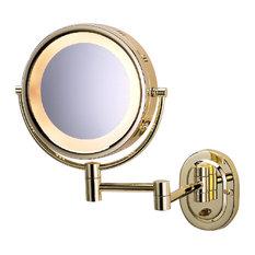 Modern Wall Mounted Brass Make-Up Mirror