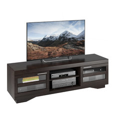 "CorLiving Distribution LLC - Granville 66"" Mocha Black Wood Veneer TV Bench - Entertainment Centers and Tv Stands"