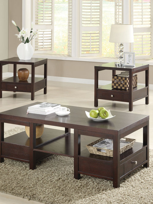 Brooklyn Espresso 3 PC Coffee and End Table Set - Coffee Tables