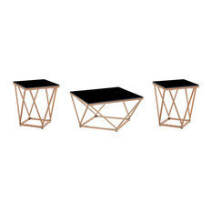 Arabela 3 Piece Tempered Glass and Stainless Steel Coffee and Side Table Set