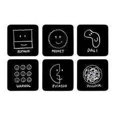 History of Art Coasters, Set of 6, Black