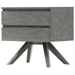 Gild Design House - Leo Night Stand - This mid-century modern furniture is designed with minimalism in mind; the clean, modern, silhouette of each hand crafted piece is perfectly paired with a contemporary ash grey finish.