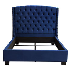 Majestic Eastern King Tufted Bed in Royal Navy Velvet with Nail Head Wing Accent