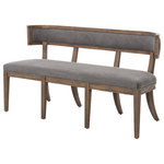 Zin Home - Lauran Curved Back Gray Upholstered Dining Bench - Unblemished attention to quality, the upscale Lauran Curved Back Gray Upholstered Dining Bench is deeply padded for comfort and gracefully curved for beauty. This banquette seating dining bench reflects antique charm with its combination of luxurious cotton upholstery and Aspen Gray finished solid wood frame. Charming in a Dining Room, this curved bench also makes a sleek addition to a living room or hallway.