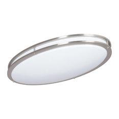 2-Light Led Oval Ceiling Mount-Bright Satin Nickel