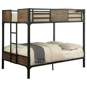 Twin Size Metal Bunk Bed With Unique Handmade Painting