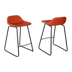 Cortesi Home Ava Counterstools In Faux Leather, Set of 2, Terracotta