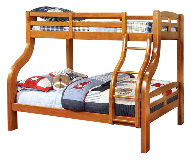 Solpine Twin Over Full Oak Finish Curved Wood Design Solid Wood Bunk