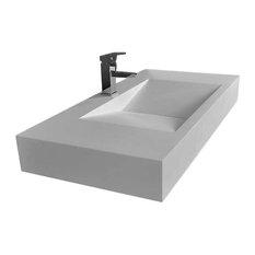 Modern Wall-Mounted Rectangular Stone Resin V-Shaped Sink, Matte White
