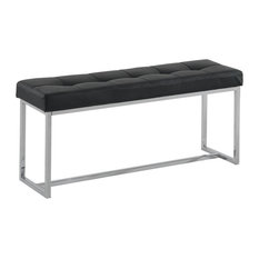 Worldwide Home Furnishings - Worldwide Home Furnishings Inspire Tufted  FauxLeather Chrome Bench - Upholstered Benches