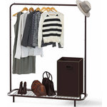 Brawbuy - Industrial Pipe Clothing Garment Rack With Bottom Shelves - Durable wired shelves that keeps your clothing, shoes, boots, pants and accessories organized.