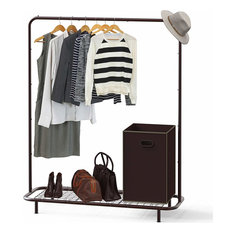 Industrial Pipe Clothing Garment Rack With Bottom Shelves