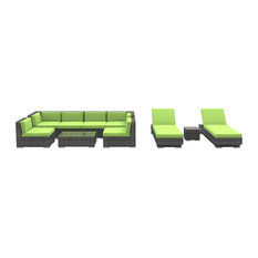 Ibiza Outdoor Patio Furniture Sofa Sectional, 10-Piece Set, Lime Green