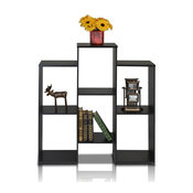 Furinno 12221BK Parsons Staggered Cube Bookcase With 6-Shelves, Black