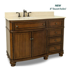 Elements Compton Vanity with Preassembled Cream Marble Top& Bowl, Painted Walnut