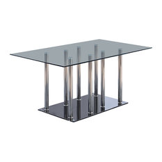 Global Furniture Dining Table Black Clear Dining Tables
