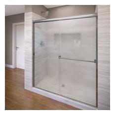 """Classic Semi-Frameless Sliding Shower Door, Fits 44-47"""", Obscure Glass, Chrome"""