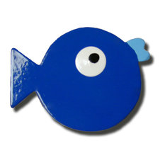 Puffer Fish Wooden Drawer Pull, Dark Blue