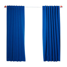best home fashion solid thermal insulated blackout curtains pair royal blue 63