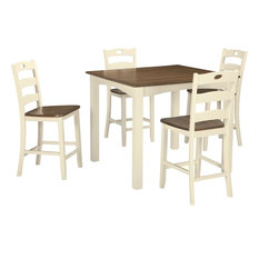 Ashley Furniture Woodanville 5 Piece Square Counter Table Set, White/Brown
