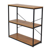 """32"""" Tall Metal 3-Tier Etagere Bookcase With Wood Shelves"""