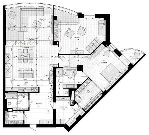Поиск планировки: Квартира с открытой ванной в спальне [5 планов]