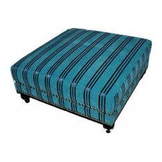 Moroccan Handwoven Kilim Wool Square Ottoman Chair Pouf Turquoise & Silk Stripes