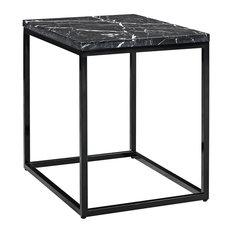 Palliser Furniture Julien Rectangular End Table Black Base Black Marble Top