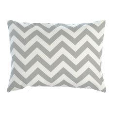 "Zig Zag Stripe Pattern Light Grey Soft Cotton Canvass Print Pillow Cover, 12""x16"