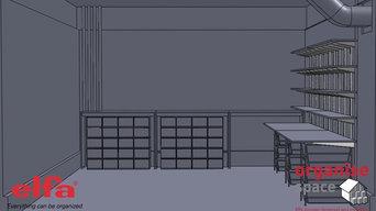 Elfa desk Elfa shelves – Create storage and space in a busy design studio